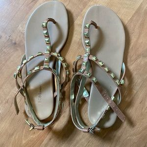 BCBG Gold Stud Sandals